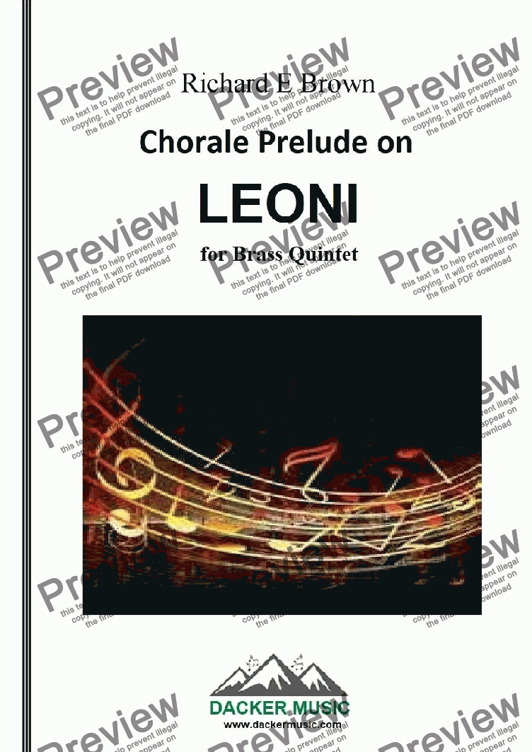 page one of Chorale Prelude on Leoni - brass quintet