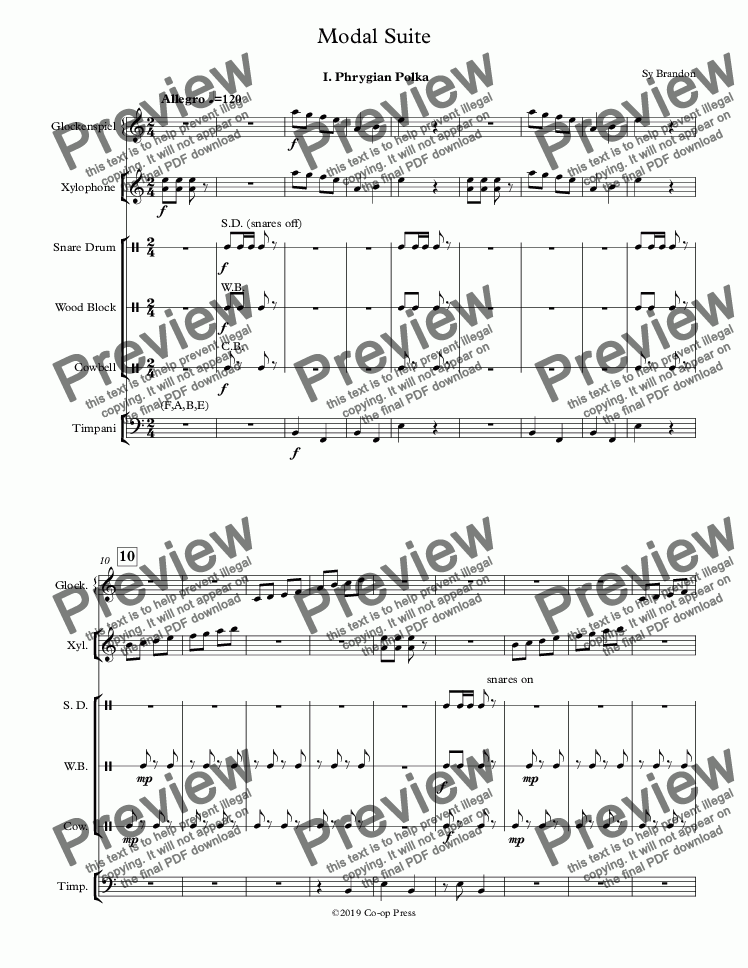 page one of Modal Suite for Percussion Sextet