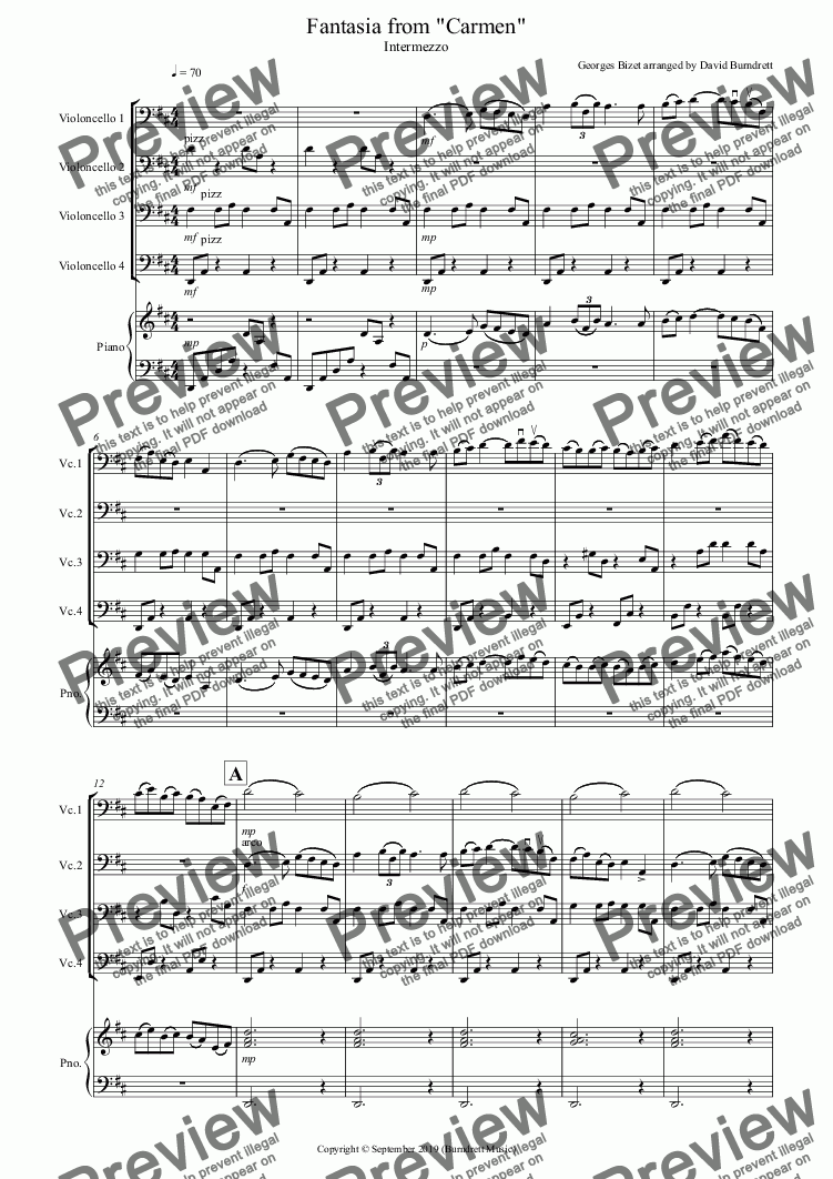 page one of Intermezzo (Fantasia from Carmen) for Cello Quartet