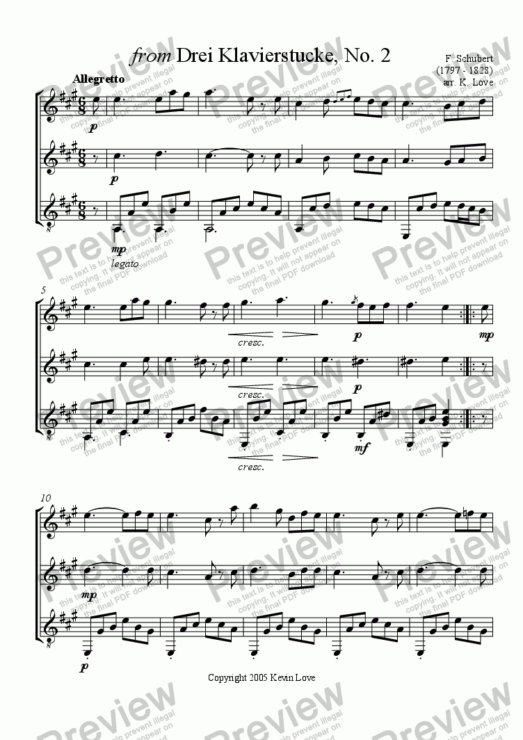 page one of from Drei Klavierstucke No. 2 (Flute, Violin and Guitar)