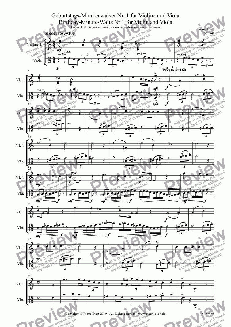 page one of Birthday-Minute-Waltz Nr 1 for Violin and Viola