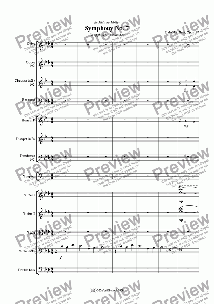 page one of Symphony No 7