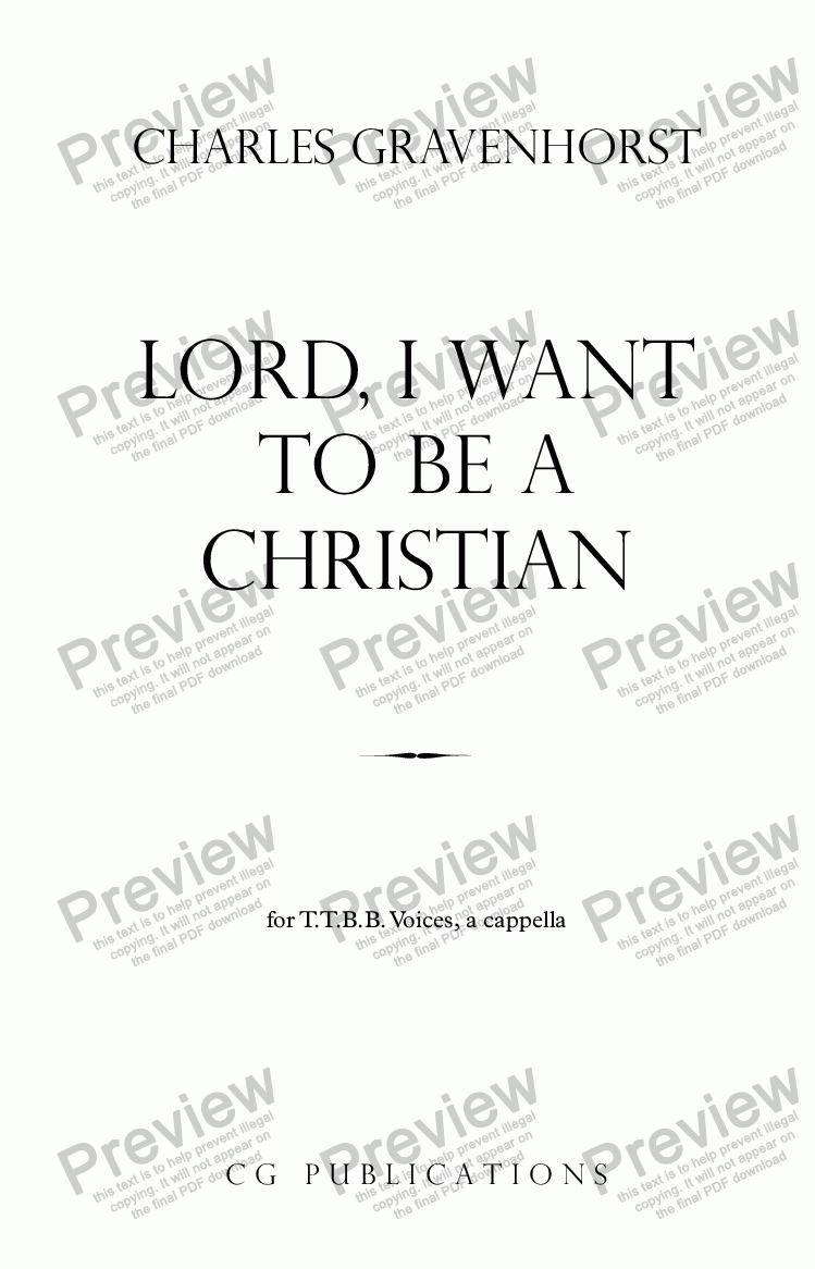 page one of Lord, I Want To Be A Christian