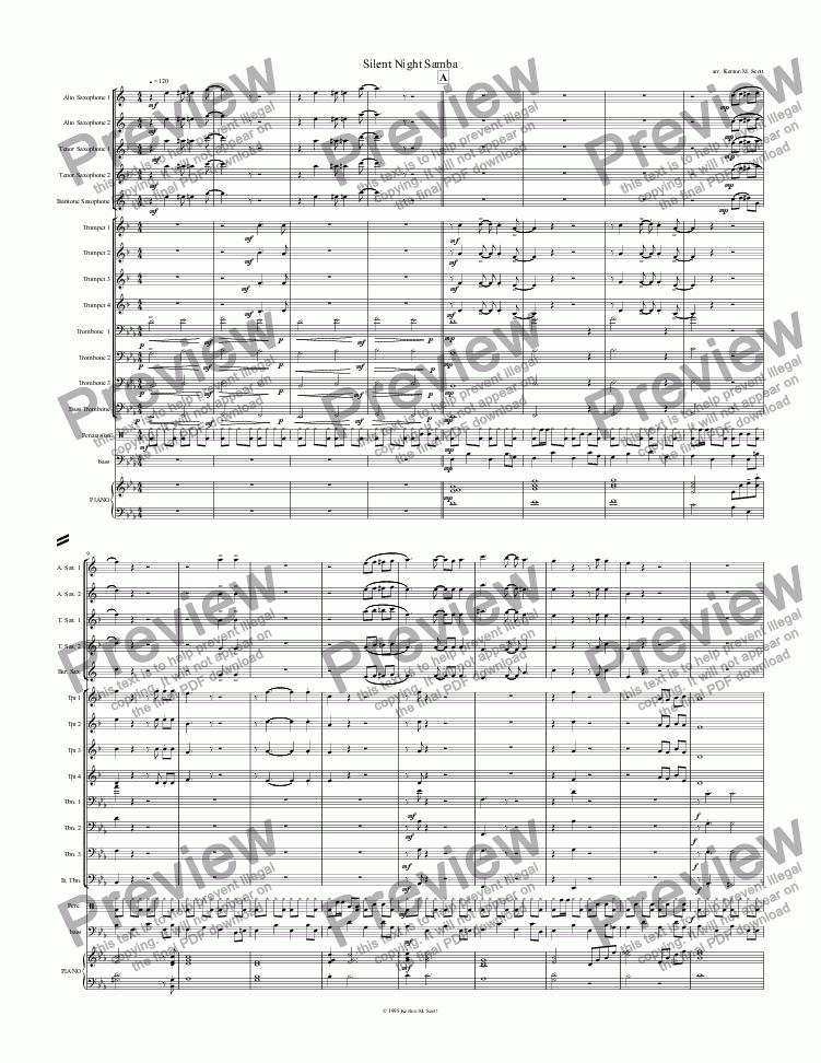 page one of Silent Night Samba