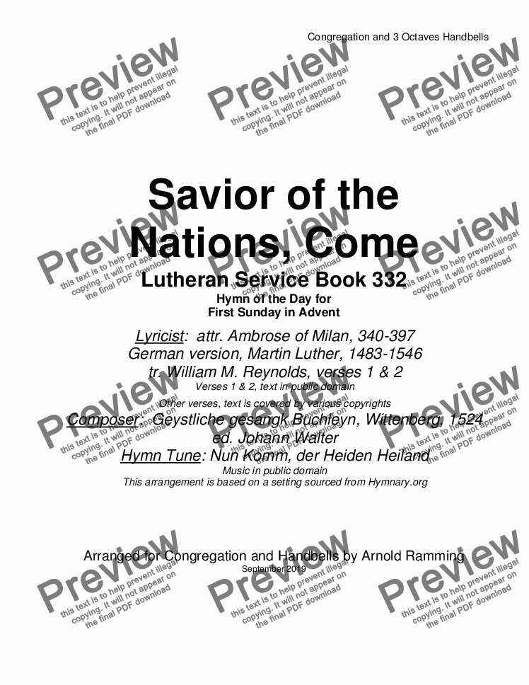 page one of Savior of the Nations Come (LSB 332)