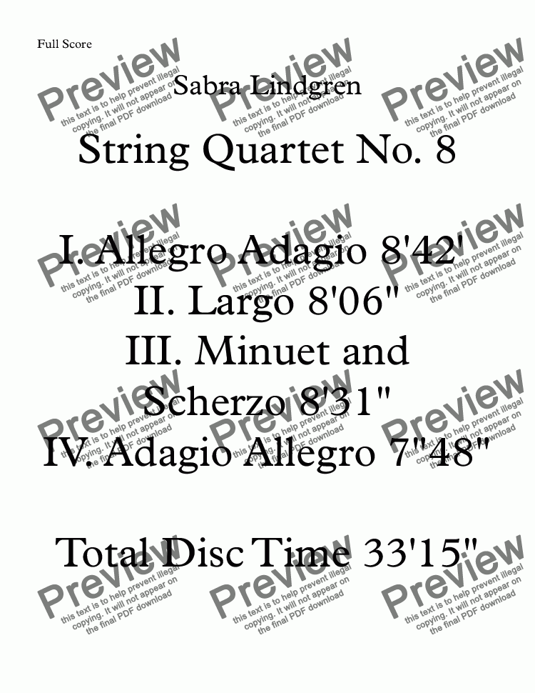 page one of String Quartet No. 8 III. Minuet and Scherzo