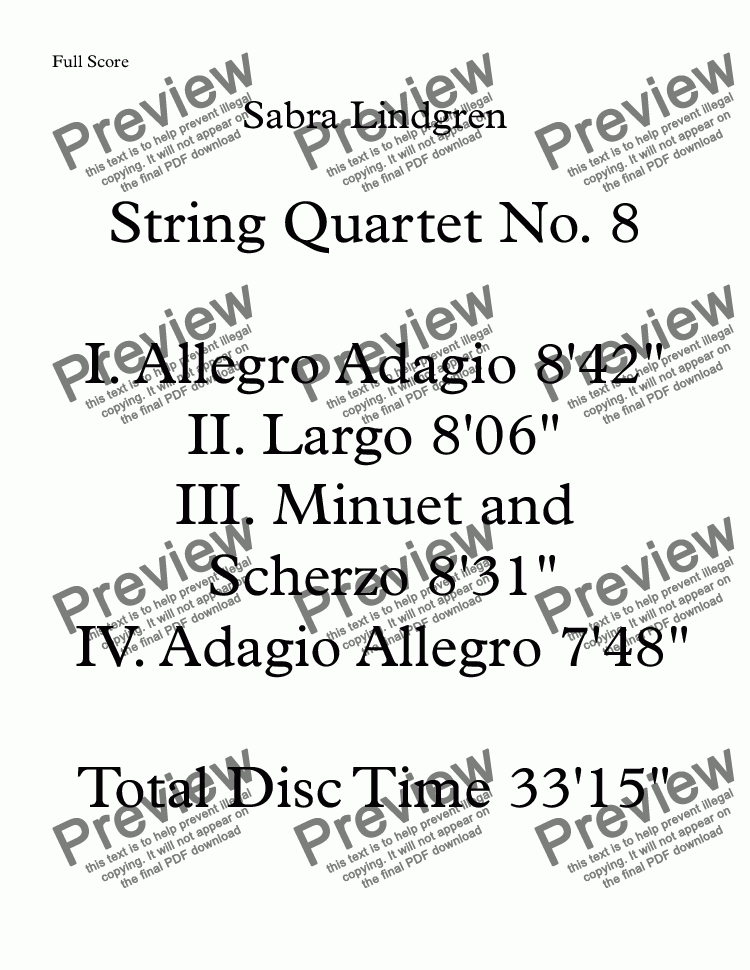 page one of String Quartet No. 8 IV. Adagio Allegro