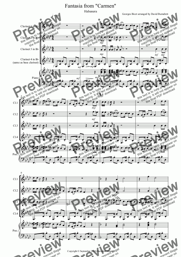 page one of Habanera (Fantasia from Carmen) for Clarinet Quartet