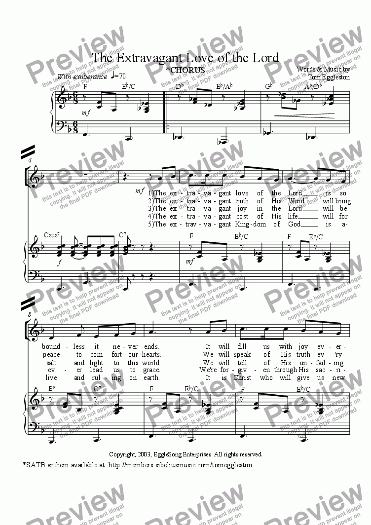 page one of The Extravagant Love of the Lord (Chorus)