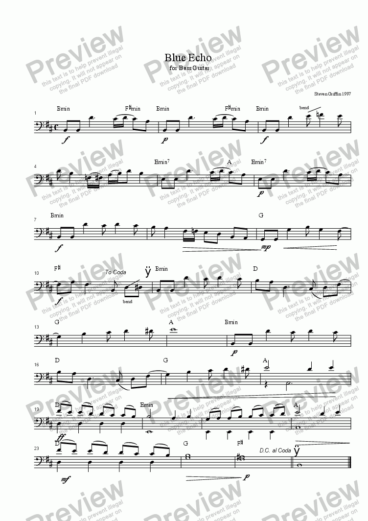 page one of Blue Echo (Bass instrument)