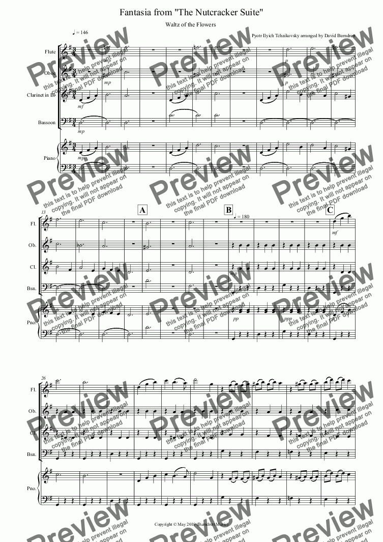 page one of Waltz of the Flowers (Fantasia from Nutcracker) for Wind Quartet