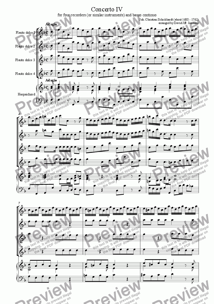 page one of Concerto IV