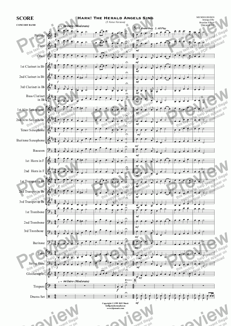 page one of Hark! The Herald Angels Sing (Christmas) - Concert Band