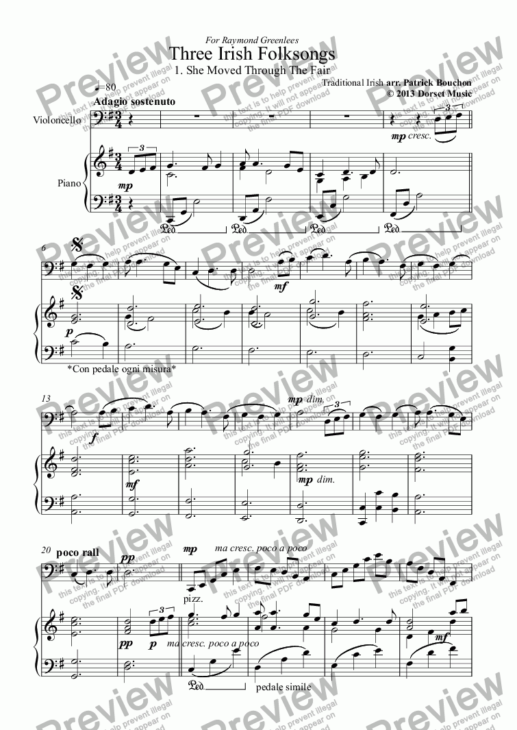 page one of Three Irish Folksongs for cello and piano 1. She Moved Through The Fair