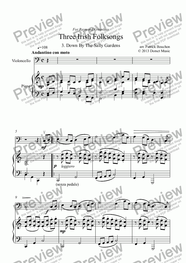 page one of Three Irish Folksongs for cello and piano 3. Down By The Sally Gardens