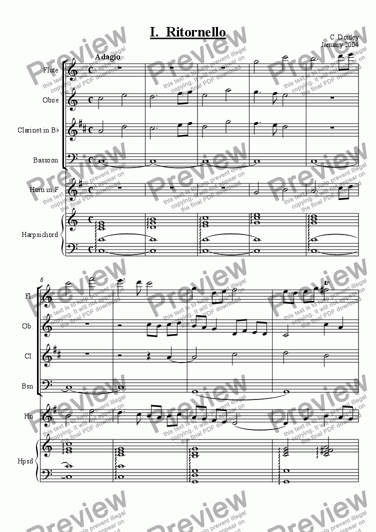 page one of Concerto for Wind Quintet and Keyboard in C, mvt. 1 (Ritornello - Adagio/Allegro)