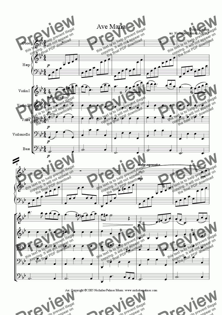 page one of Ave Maria - Caccini [strings, harp and solo]