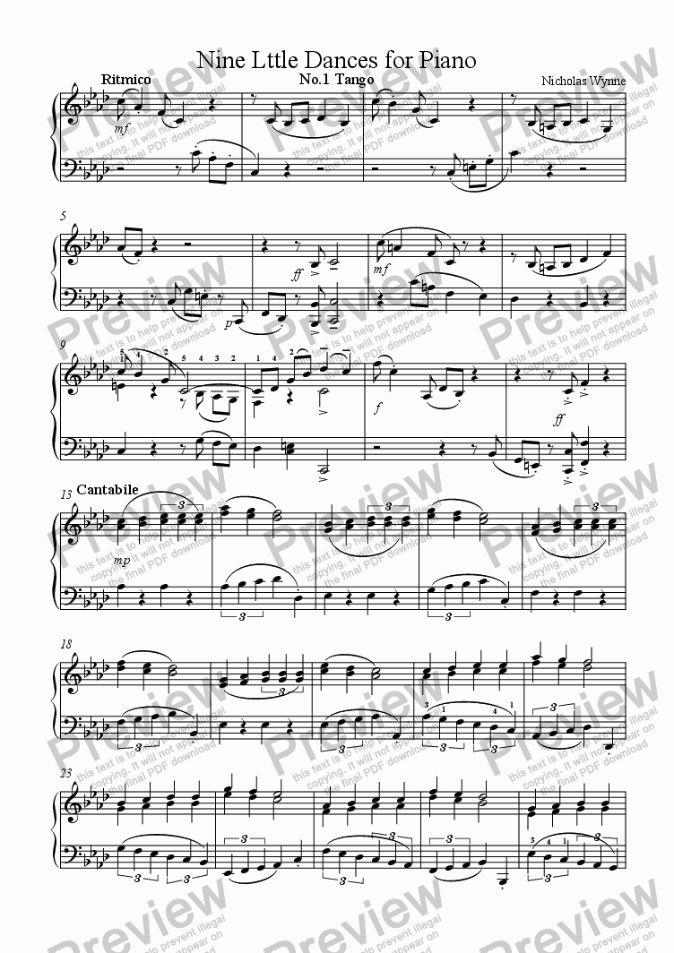 page one of Nine Little Dances for Piano