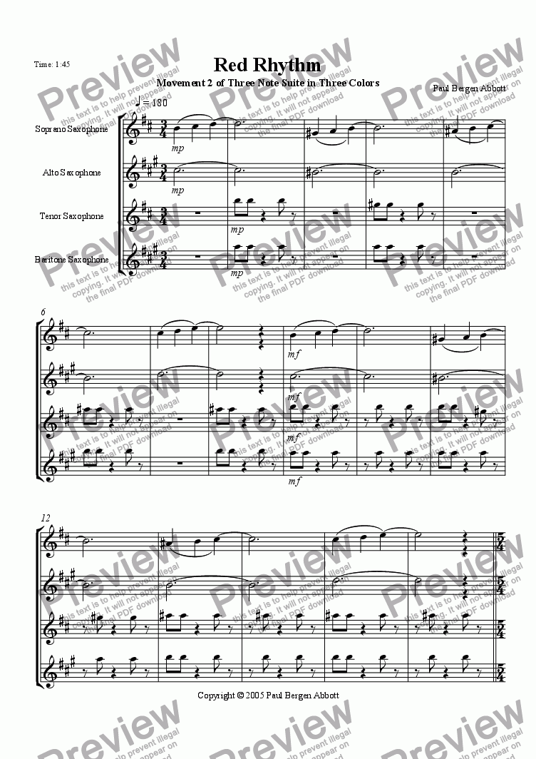 page one of Red Rhythm (saxophone quartet)ASALTTEXT
