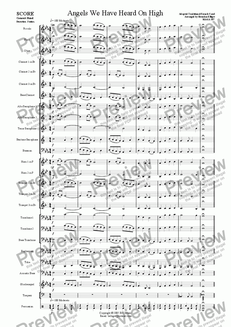 Angels We Have Heard On High (Christmas) - Concert Band for Concert band /  wind band by trad  - Sheet Music PDF file to download