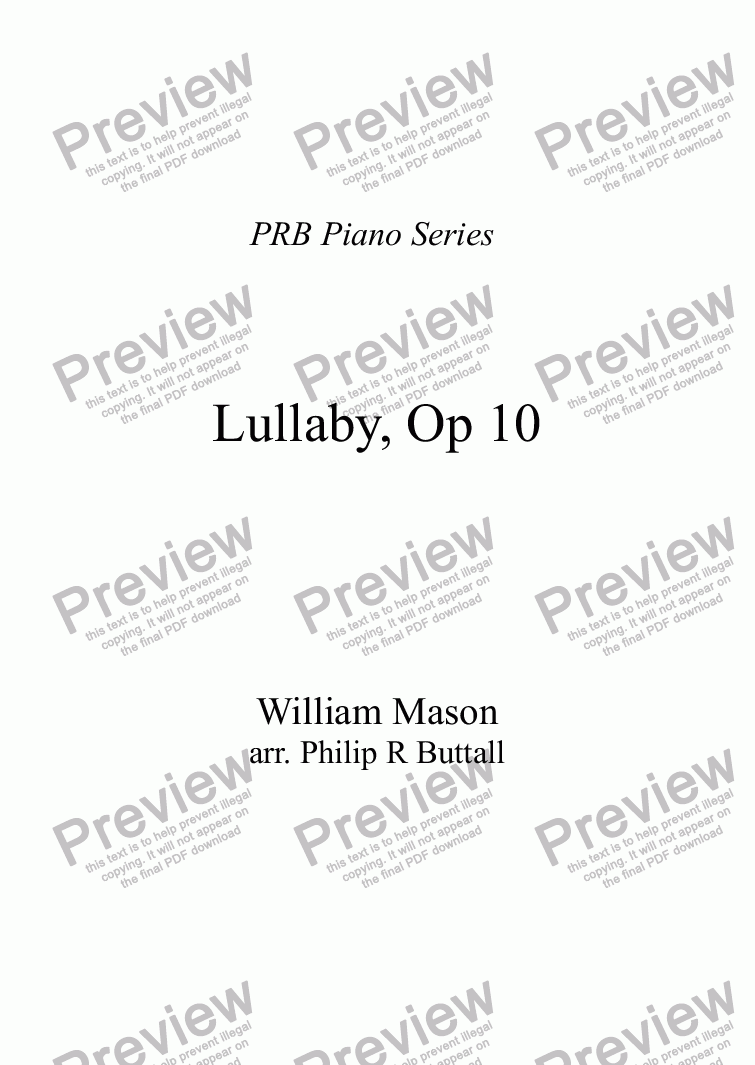 page one of PRB Piano Series:  Lullaby (William Mason)