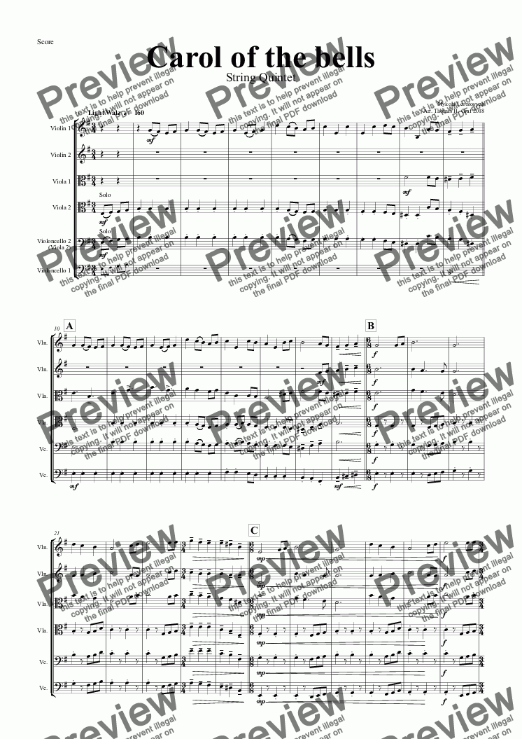page one of Carol of the Bells - Pentatonix style - String Quintet