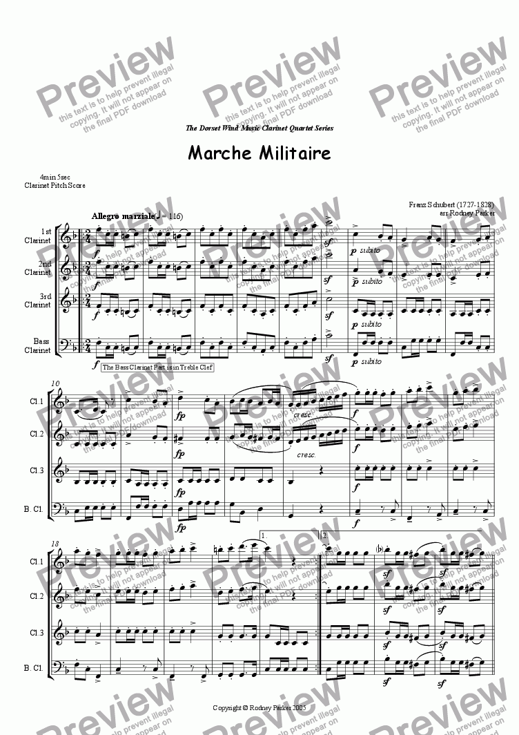 page one of Marche Militaire arr for Clarinet Quartet