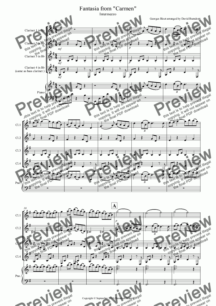page one of Intermezzo (Fantasia from Carmen) for Clarinet Quartet