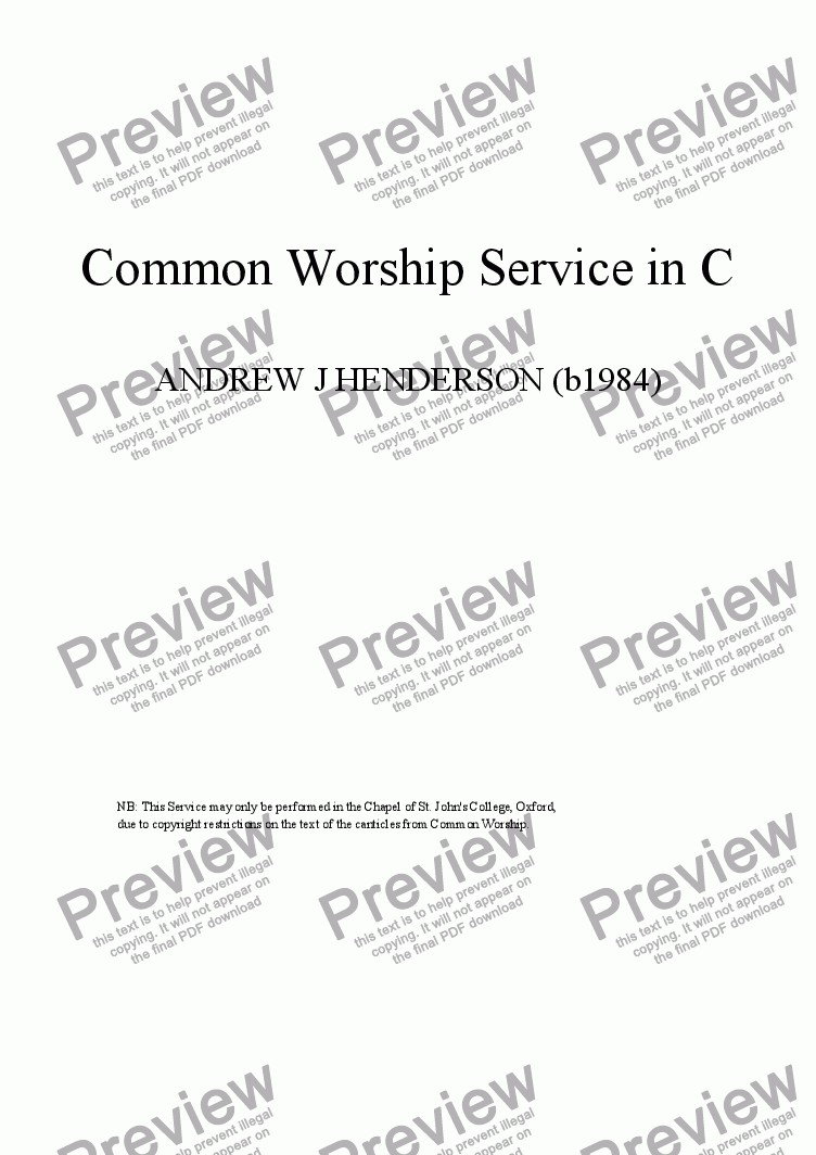 page one of Common Worship Service in C