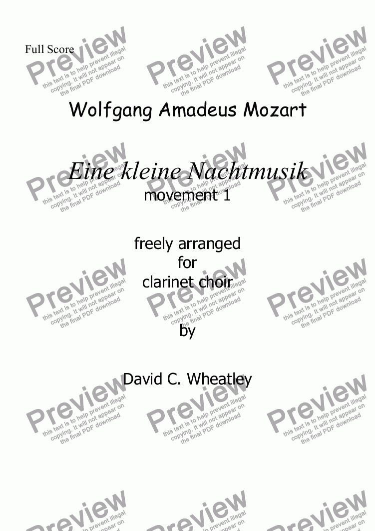 page one of Mozart - Eine kleine Nachtmusic mvt 1 (Allegro) for clarinet choir