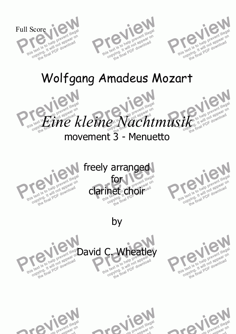 page one of Mozart - Eine kleine Nachtmusic mvt 3 (Minuetto) for clarinet choir