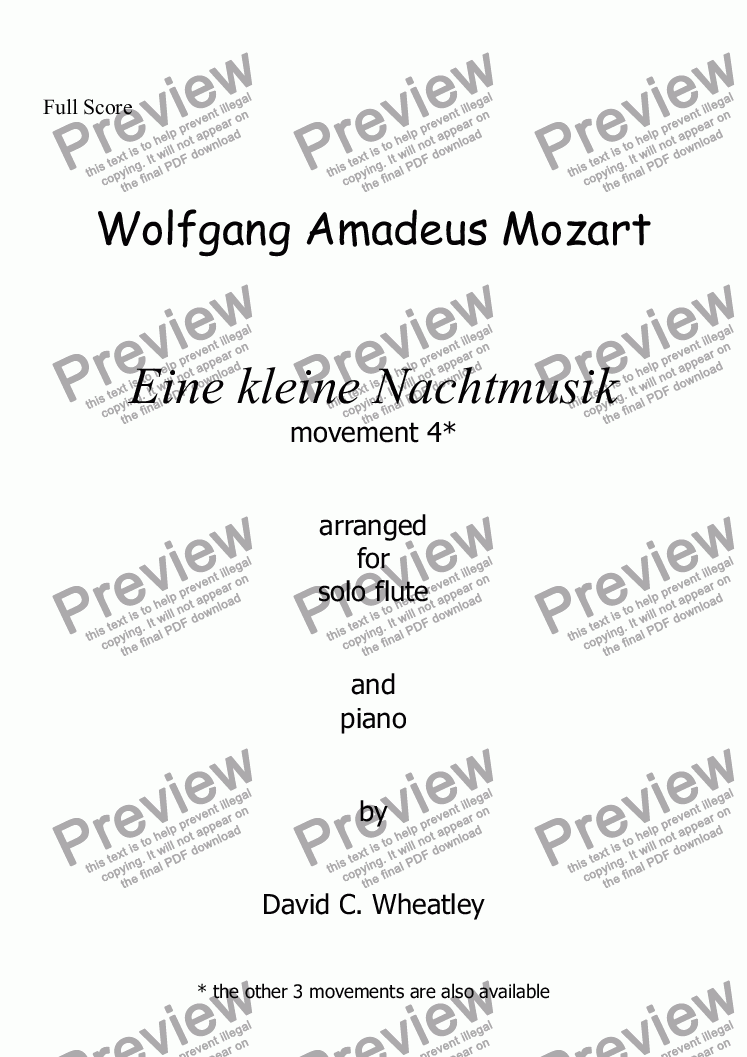 page one of Mozart - Eine kleine Nachtmusik mvt 4 (rondo) for flute and piano