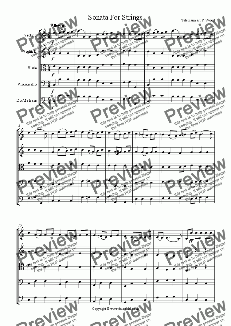 page one of Telemann Sonata for Strings
