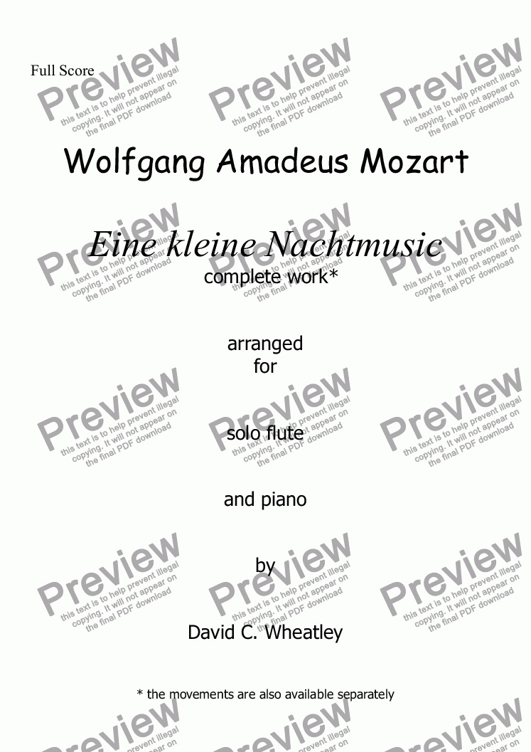 page one of Mozart - Eine kleine Nachtmusic (complete) for flute and piano