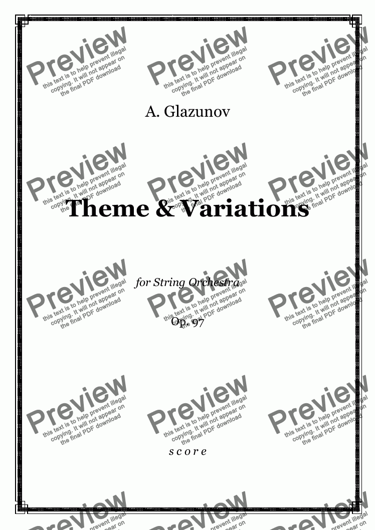 page one of Glazunov - Theme and Variations Op.97 for String Orchestra