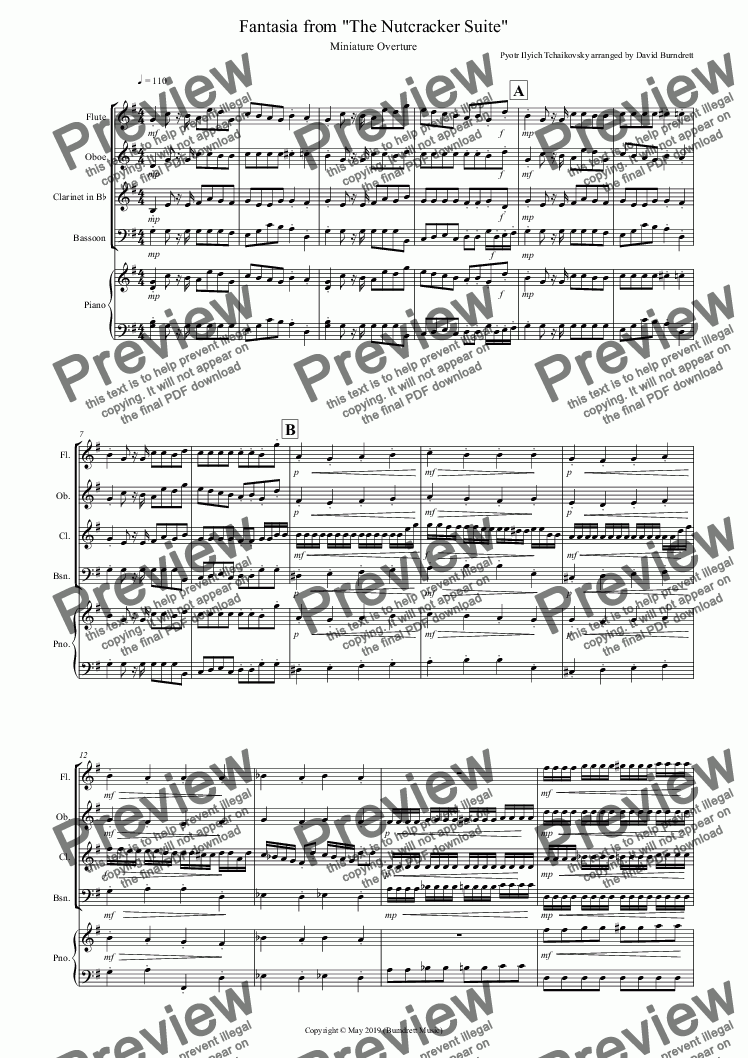 page one of Miniature Overture (Fantasia from Nutcracker) for Wind Quartet