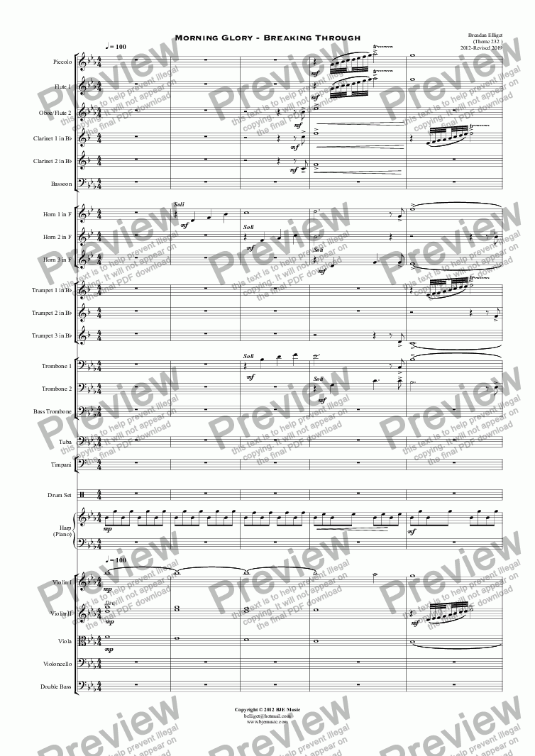 page one of Morning Glory - Breaking Through - Orchestra