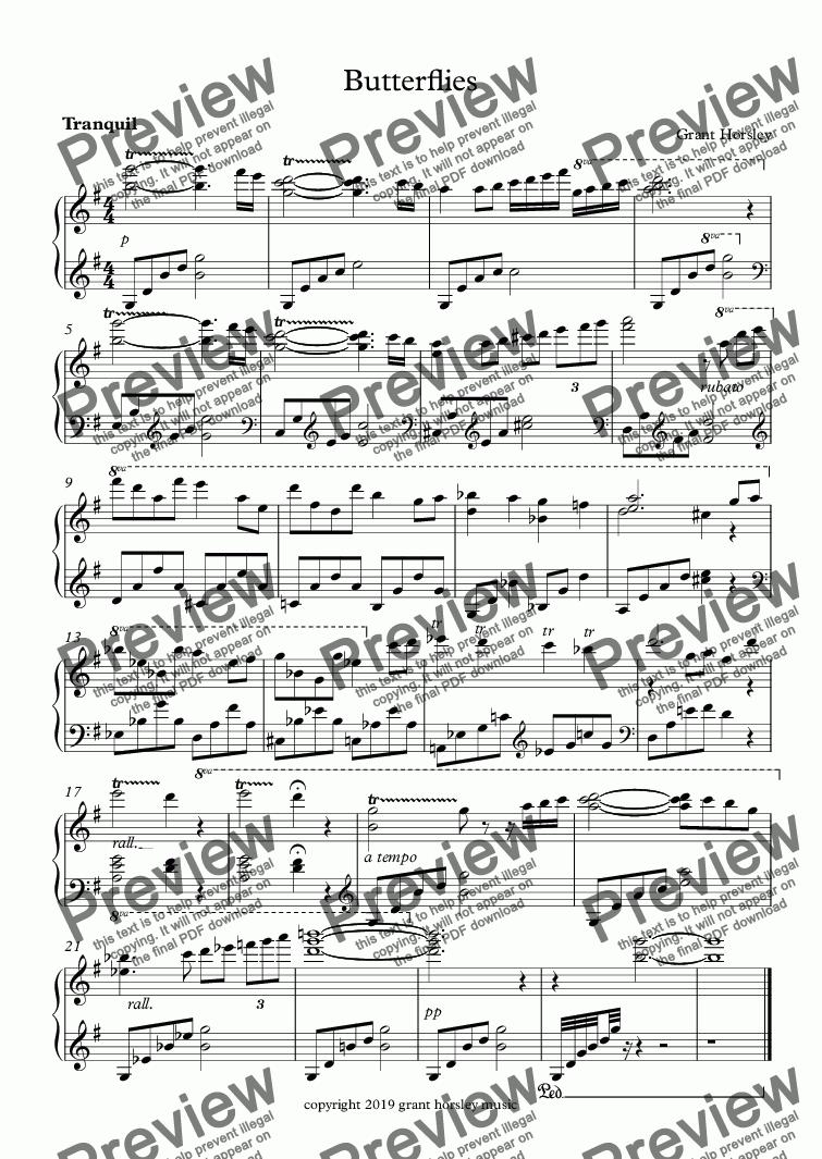 page one of Butterflies-Piano music for Characters and Animals