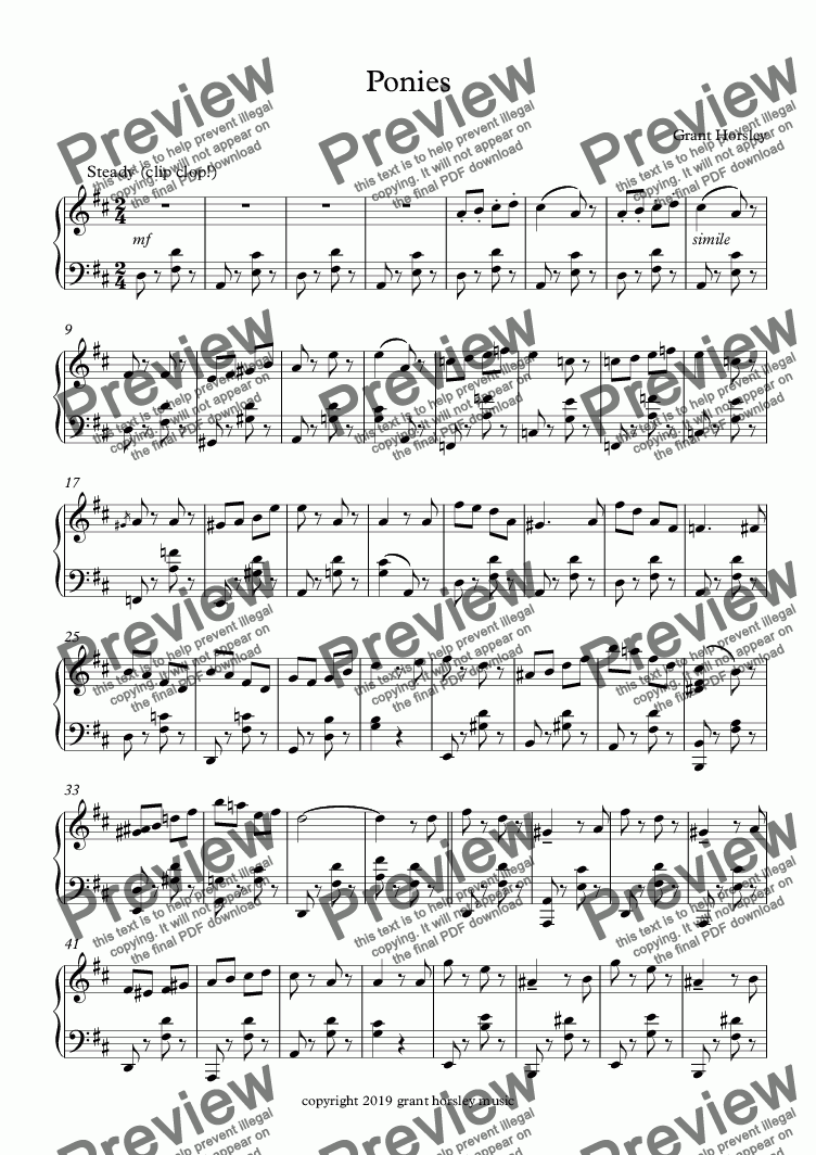 page one of Ponies-Piano music for Characters and Animals