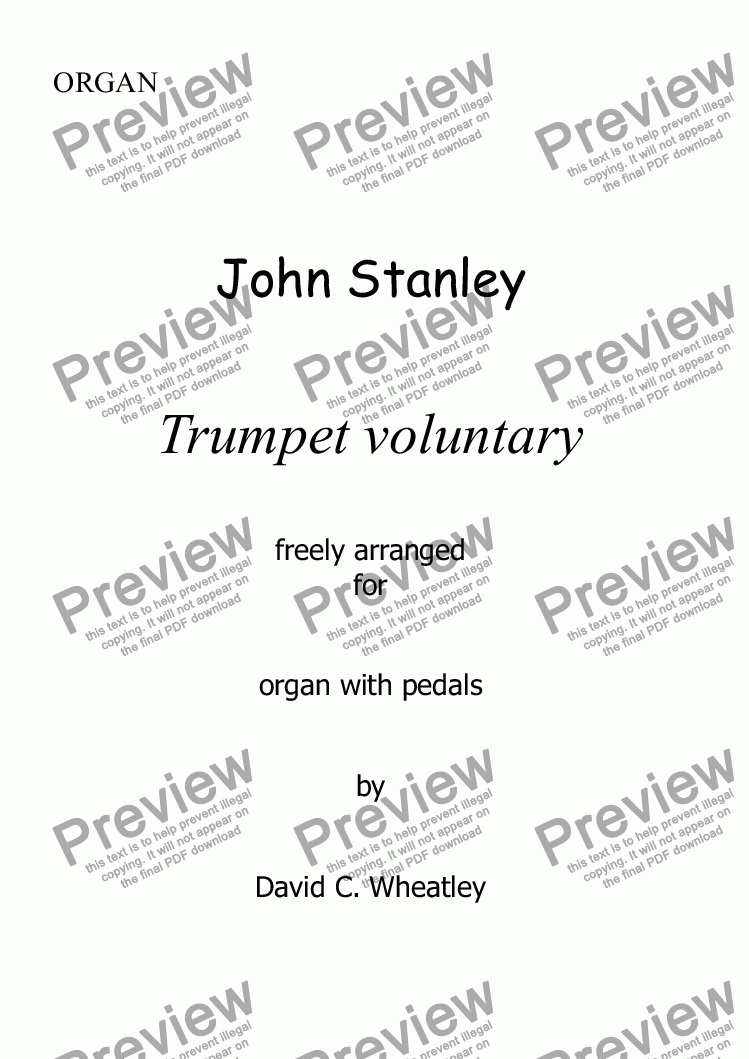 page one of Trumpet Voluntary by John Stanley for organ solo