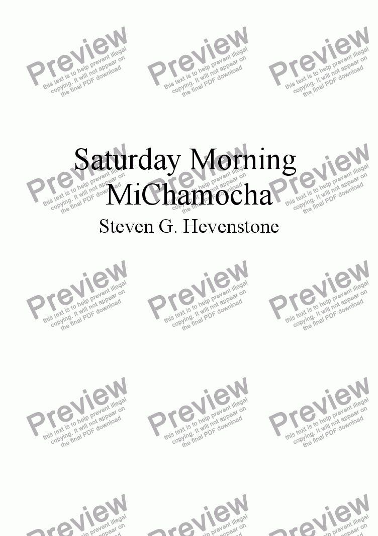 page one of MiChamocha for Saturday Morning