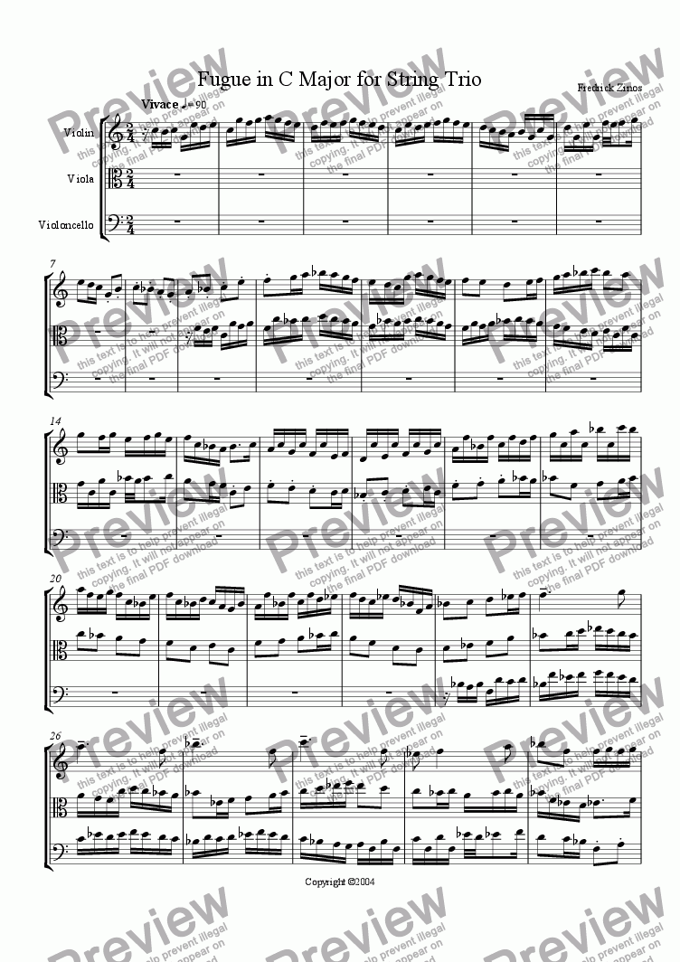 page one of Fugue in C Major for String Trio