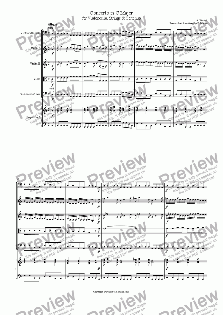 page one of Concerto in C Major for violoncello, strings & continuo RV 399