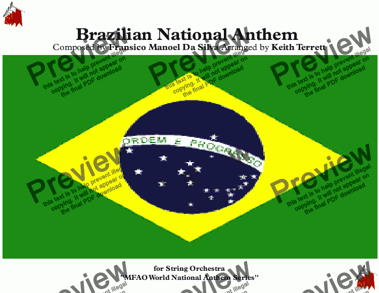 page one of Brazilian National Anthem for String Orchestra (MFAO World National Anthem Series)
