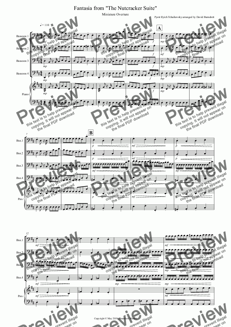 page one of Miniature Overture for Bassoon Quartet