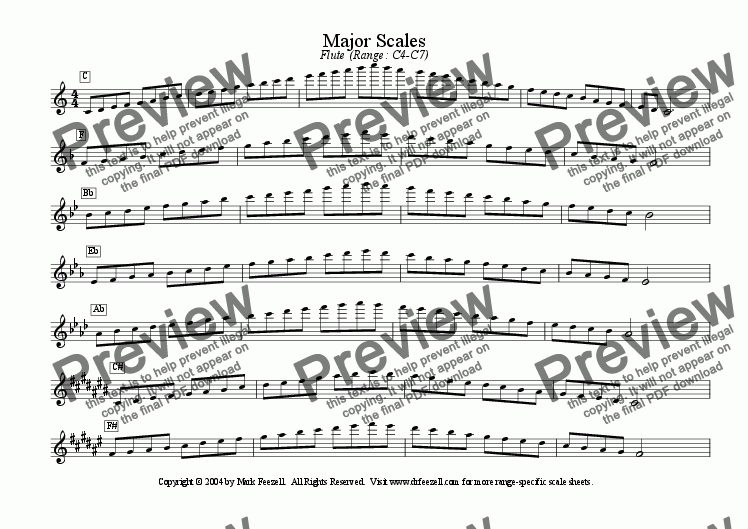 page one of Basic Band Scales - ideal for band directors