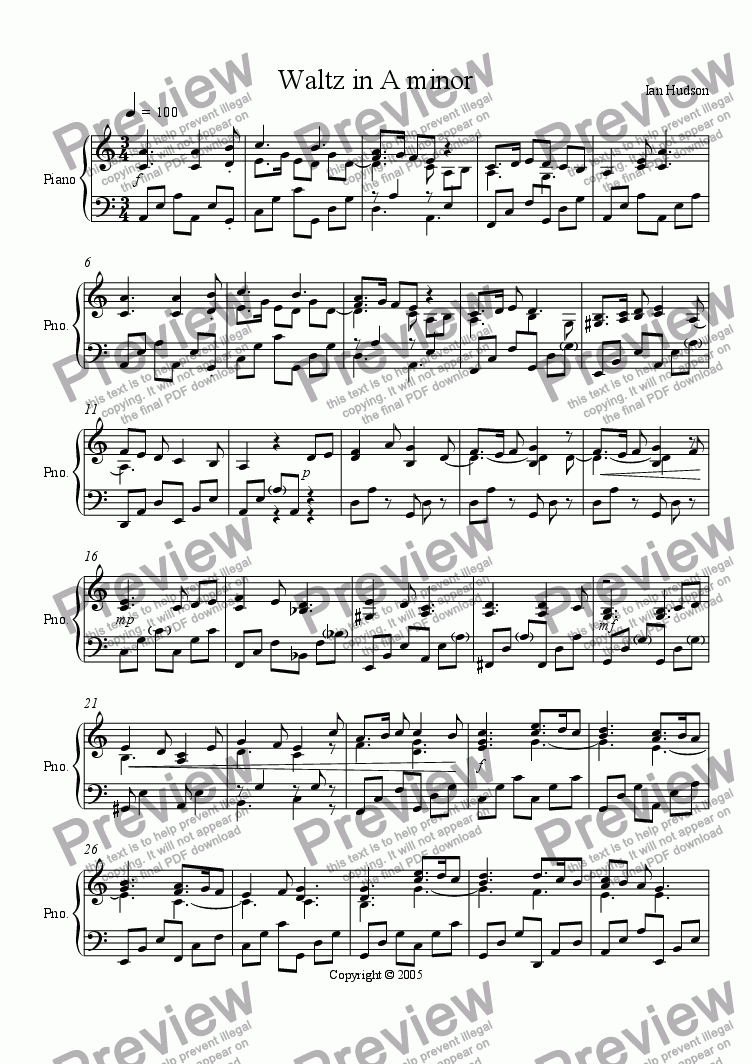 page one of Waltz in A minor
