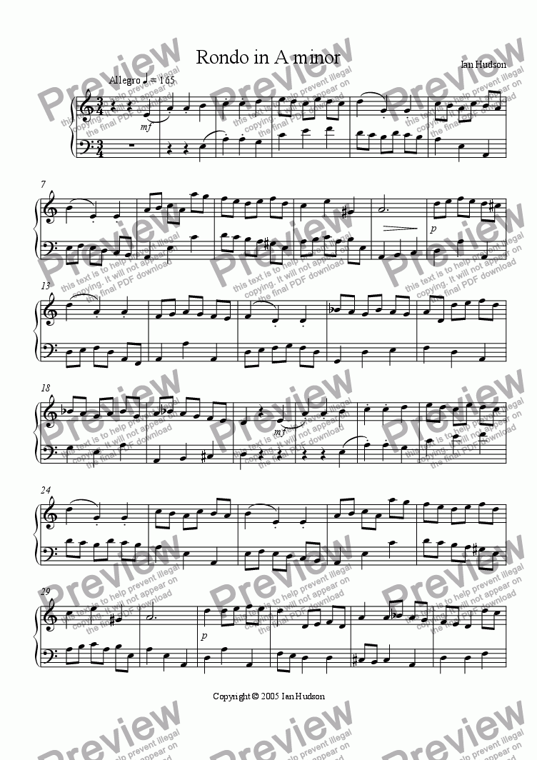 page one of Rondo in A minor