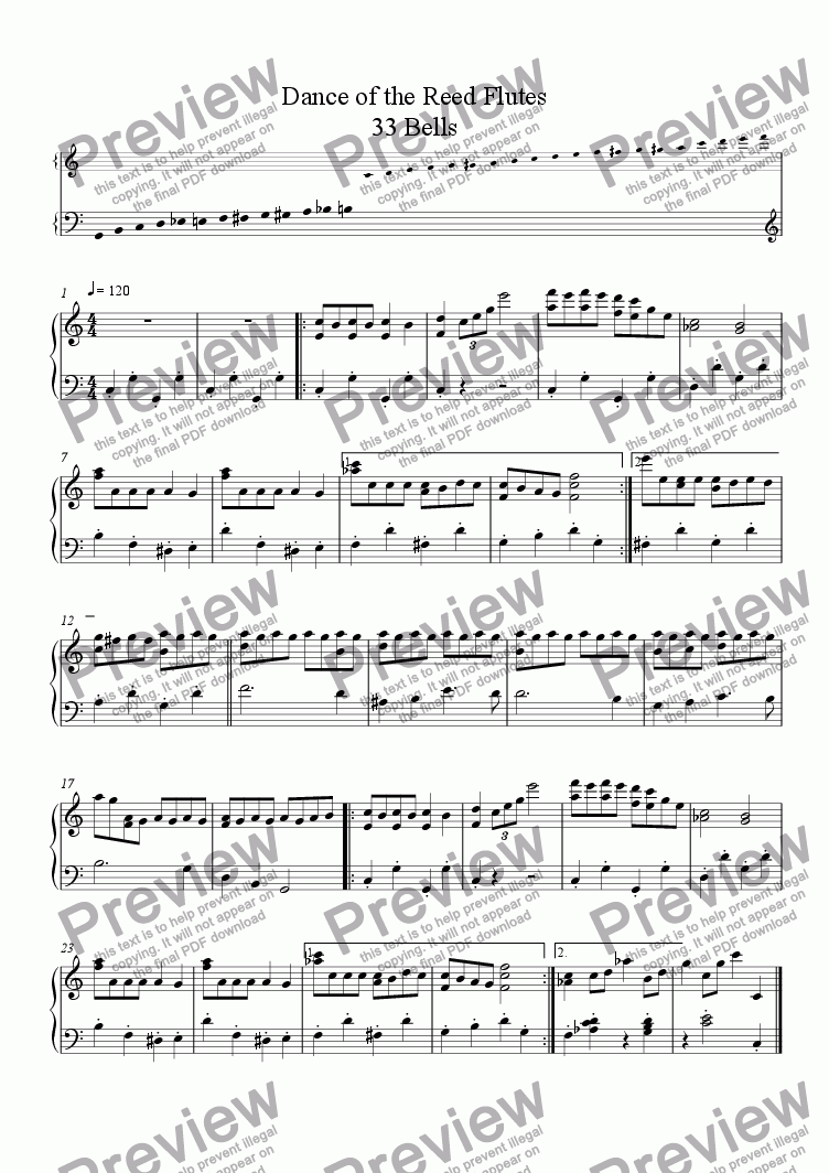 page one of Dance of the Reed Flutes