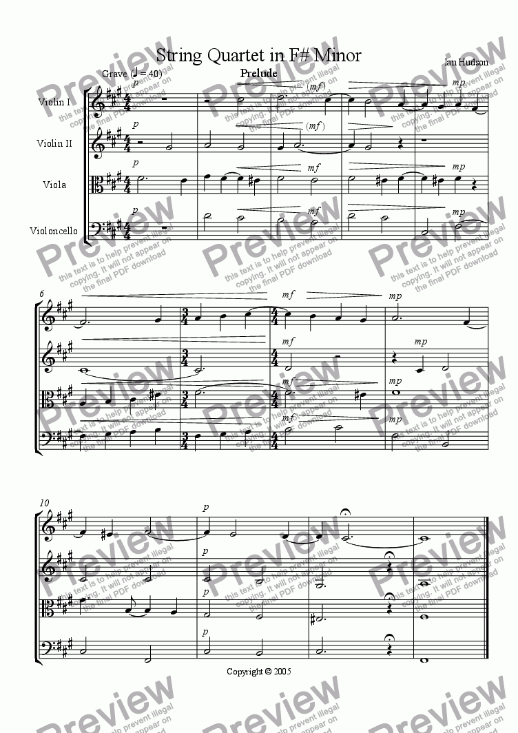 page one of String Quartet in F# Minor